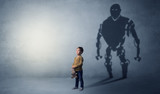 Little boy s self image appear as a big robotman shadow on his background  - 199746229