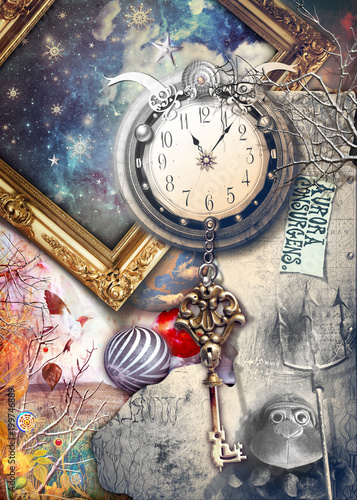 Keuken foto achterwand Imagination Anywhere out of the world. Fairytale and enchanted landscape with key and clock.