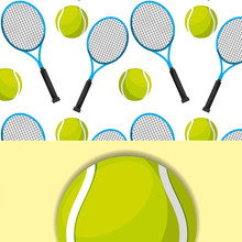 Tennis Racket And Ball Sport Competition Pattern  Illustration Sticker