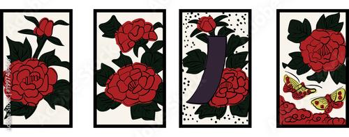 花札のイラスト 6月牡丹 牡丹に蝶 日本のカードゲーム  ベクターデータ  手描き・フリーハンド