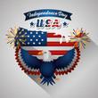 happy independence celebration eagle fireworks usa flag fest vector illustration