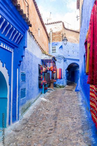 Foto op Plexiglas Smal steegje Street in blue