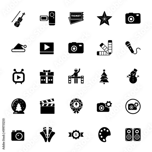 Icon Set Of Entertainment Signs Party Event Leisure Pastime