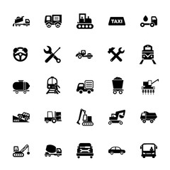 Icon set of mode of transport. Vehicle, public and industrial transport, logistics. Transportation concept. For topics like shipping, carriage, service