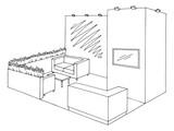 Exhibition stand graphic interior black white sketch illustration vector - 199754630