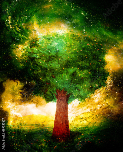 Beautiful mighty colorful tree in cosmic space.
