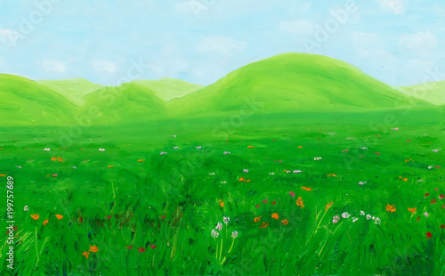 bright green meadow landsape with wild flowers, graphic effect.