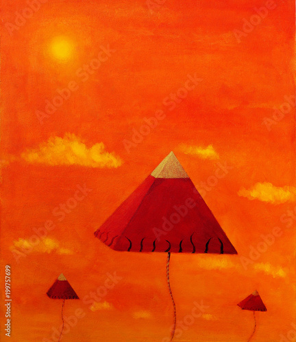 vision of three pyramids flying up to the orange sky.
