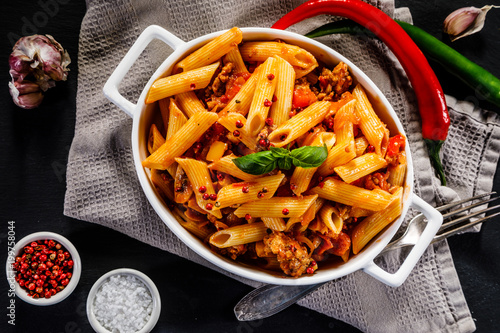Penne with meat, tomato sauce and vegetables  - 199758044