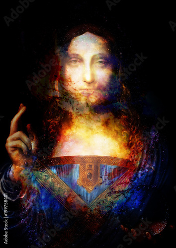 Saviour of the world. Salvador mundi. My own reproduction of Leonardo DaVinci painting. Cosmic space collage.