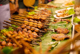Closeup Of Chicken Satays At Market Stall