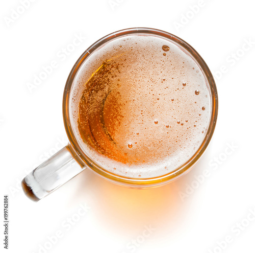 Fototapeta top view of mug of beer isolated on white background