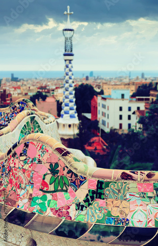 Foto Murales View of Park Guell in  Barcelona, Spain