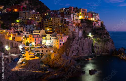 Foto op Plexiglas Liguria Manarola La Spezia city with small villages at evening, Italy