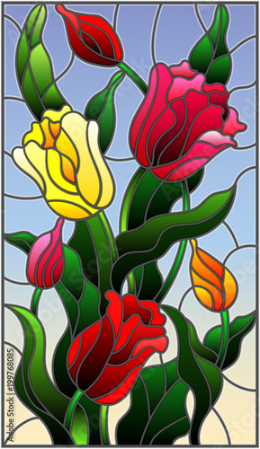 illustration-in-stained-glass-style-with-a-bouquet-of-colorful-tulips-on-a-sky-background