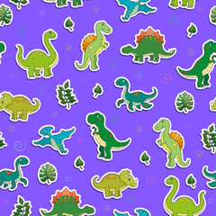 Seamless pattern with colorful dinosaurs and leaves, sticker icons on purple background
