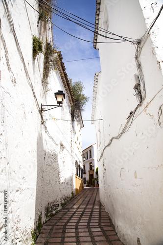 calle de un pueblo rural todo pintado de blanco en Andalucía al sur de España, con las farolas colgadas de las paredes , los calles eléctricos sobre la fachada y el cielo azul en el fondo © tingitania