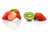 juicy kiwi and strawberries on a white background