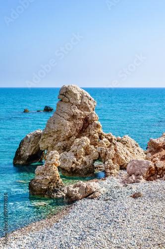 Fotobehang Cyprus Aphrodite's Rock beach near Cyprus island