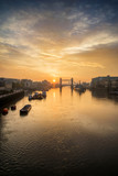 Beautiful Autumn sunrise landscape of Tower Bridge and River Thames in London