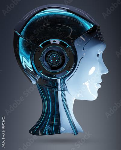 Cyborg head artificial intelligence 3D rendering - 199773602