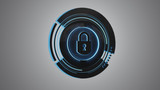 Shinny technologic locker security button isolated on an uniform background - 3d render - 199783464