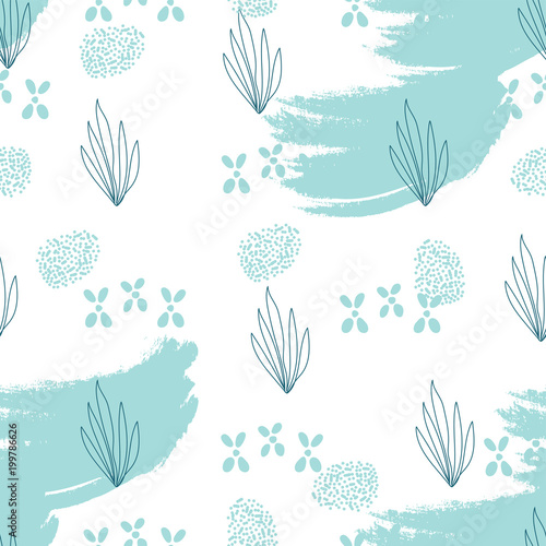Cotton fabric Hand drawn Doodle Sea nautical seamless pattern with fish and shells on grunge brush texture. Underwater illustration. Seafood background.