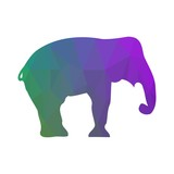 Elephant Silhouette. Abstraction. Low Poly Style. Vector