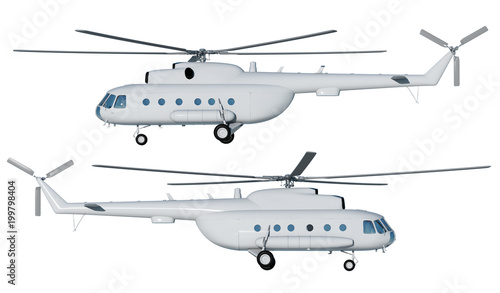 Fototapeta 3d illustration of Mi helicopter 8. Layout. Light gray helicopter on a white background front view. Side view. Isolated. Illustration for branding. 3d modeling and 3d rendering