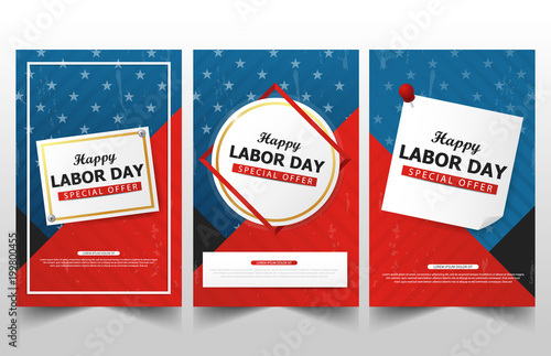 Happy Labor day american flag banner collections, labor day flyer brochure ads template set