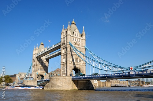 Fotobehang Londen 57. Tower Bridge in London, UK. Sunny day, blue sky.
