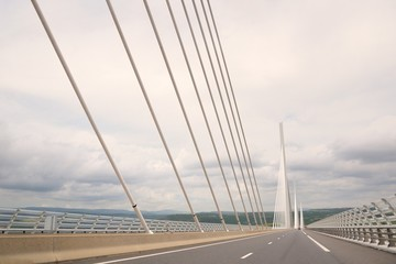 View of the Millau Viaduct, the tallest cable-stayed bridge over the Tarn valley in France.
