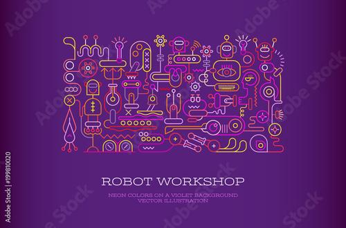 Plexiglas Abstractie Art Robot Workshop vector banner