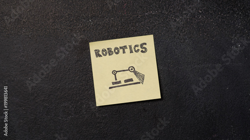 Sticky Note With Robotics Word On The Blackboard Buy Photos Ap