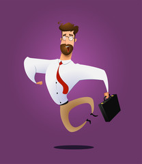 Illustration of happy jumping businessman
