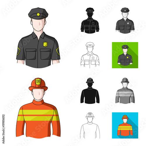 People of different professions cartoon,black,flat,monochrome,outline icons in set collection for design. Worker and specialist vector symbol stock web illustration.