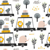 Seamless childish pattern with cute friends, lion, hippo, elephant in the car. Creative kids texture for fabric, wrapping, textile, wallpaper, apparel. Vector illustration - 199817815