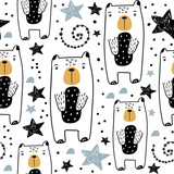 Seamless childish pattern with hand drawn cute bears and stars. Creative kids texture for fabric, wrapping, textile, wallpaper, apparel. Vector illustration - 199817822