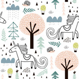 Seamless childish pattern with fairy unicorn, hedgehog in the wood. Creative kids city texture for fabric, wrapping, textile, wallpaper, apparel. Vector illustration - 199818021