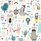 Seamless childish pattern with fairy flowers, bear,bunny, leopard, hedgehog.. Creative kids city texture for fabric, wrapping, textile, wallpaper, apparel. Vector illustration - 199818062