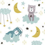 Seamless childish pattern with cute bears on clouds, moon, stars. Creative scandinavian style kids texture for fabric, wrapping, textile, wallpaper, apparel. Vector illustration - 199818488