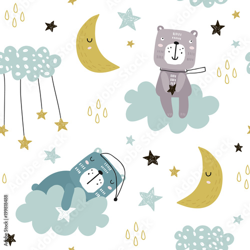 Tapeta Seamless childish pattern with cute bears on clouds, moon, stars. Creative scandinavian style kids texture for fabric, wrapping, textile, wallpaper, apparel. Vector illustration