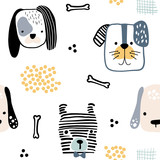 Seamless pattern with cute dog faces and hand drawn elements. Creative childish texture in scandinavian style. Great for fabric, textile Vector Illustration - 199818692