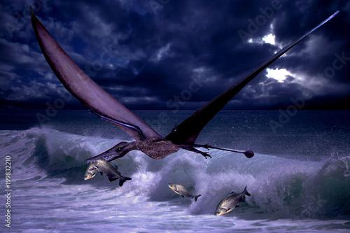 ptéranodon capturant un poisson - 199832210
