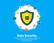 Data Security concept. Circles, integrate flat icons. Connected symbols for guard, protection, monitoring, safety or control concepts. Flat cartoon design, vector illustration on background.