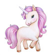 Cute unicorn cartoon, isolated on white.