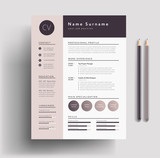 Fototapety Beautiful CV / Resume template - elegant stylish design - dusty pink color background vector