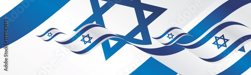 Israel Independence Day waving flags two fold landscape background banner greeting card