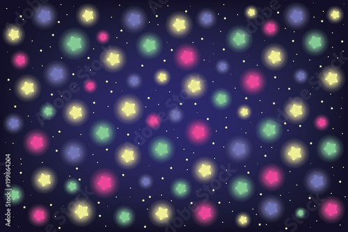colorful shiny stars in night sky vector illustration - 199864204