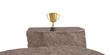 A gold trophy on other side of cliff. 3D illustration.